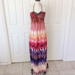 HeartSoul Medium Halter Boho Maxi Dress Feathers